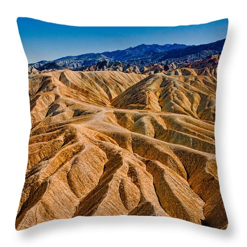 Desert Throw Pillow featuring the photograph Zabriskie Point Badlands by Greg Nyquist