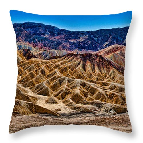 Zabriskie Point Throw Pillow featuring the photograph Zabriskie Point Panorama by Greg Nyquist