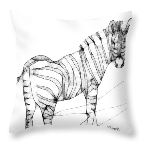 Zebra Throw Pillow featuring the digital art Zebra Doodle by Arline Wagner