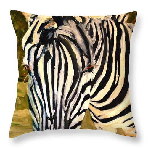 Art Throw Pillow featuring the painting Zebra Stripes by Miriam Schulman