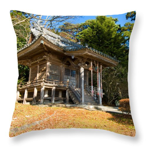 Ancient Throw Pillow featuring the photograph Zen Building In A Garden At A Sunny Morning by U Schade