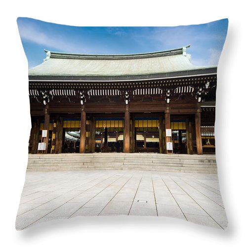 Ancient Throw Pillow featuring the photograph Zen Temple Under Blue Sky by U Schade
