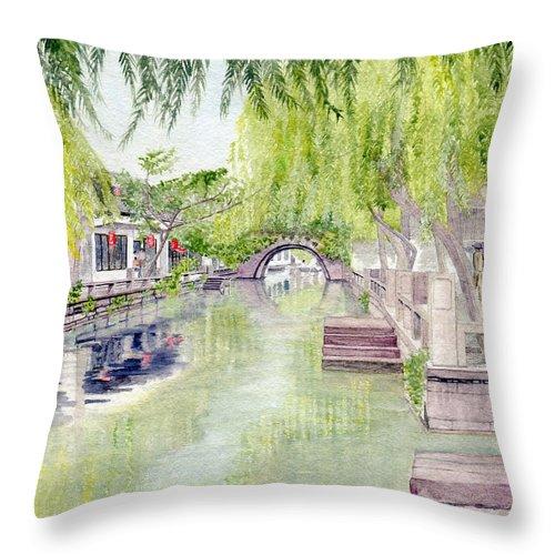 Zhou Zhuang Throw Pillow featuring the painting Zhou Zhuang Watertown Suchou China 2006 by Melly Terpening