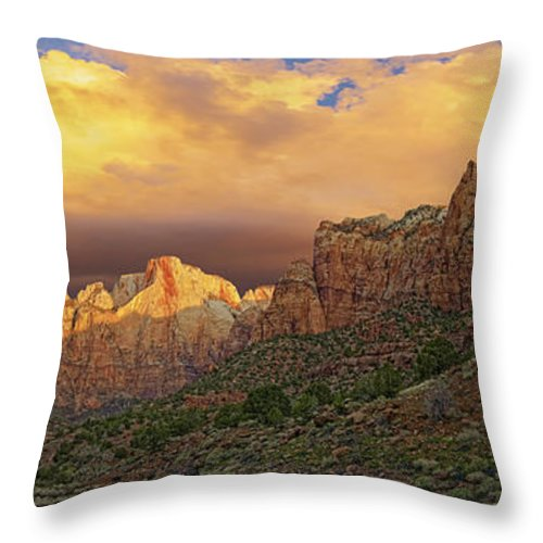 Utah Throw Pillow featuring the photograph Zion National Park Sunrise II by Fred J Lord