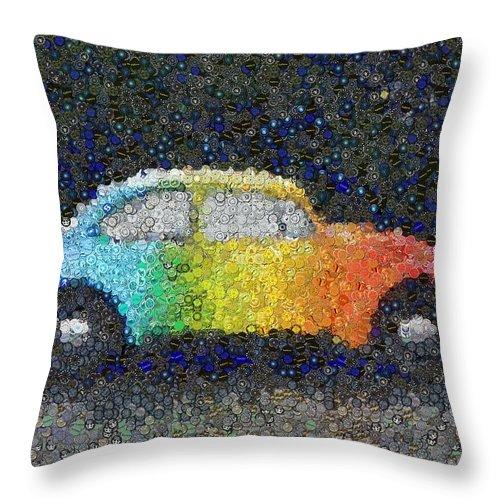 Zodiac Throw Pillow featuring the mixed media Zodiac Vw Bug Mosaic by Paul Van Scott