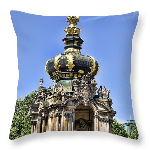 Zwinger Palace Crown Gate Throw Pillow featuring the photograph Zwinger Palace Crown Gate by Jon Berghoff