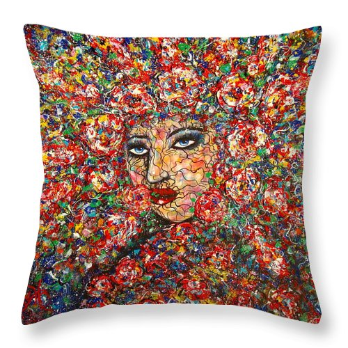 Woman Throw Pillow featuring the painting  Gentle Beautiful Flower by Natalie Holland