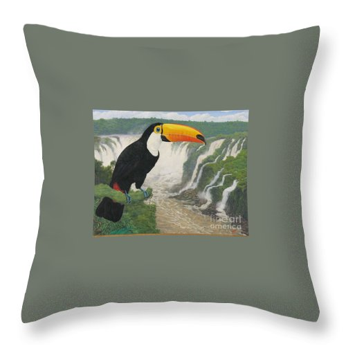 Tucan Throw Pillow featuring the painting    Tucan by Juan Enrique Marquez