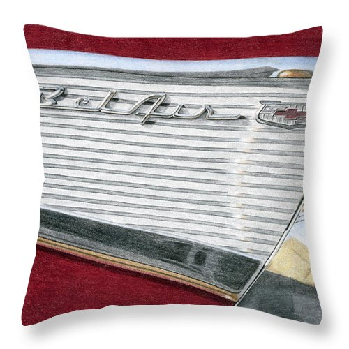 Classic Throw Pillow featuring the drawing 1957 Chevrolet Bel Air Convertible by Rob De Vries