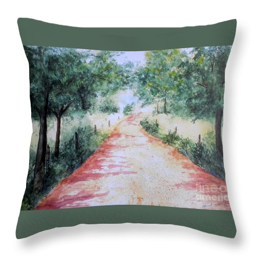 Country Road Throw Pillow featuring the painting A Country Road by Vicki Housel