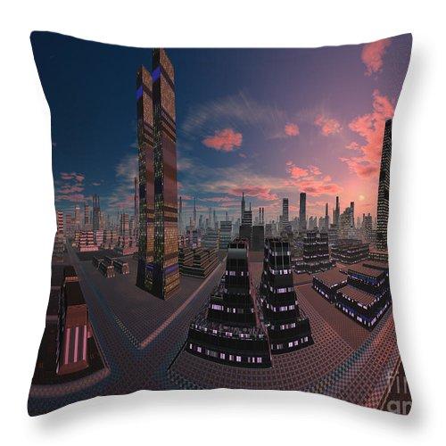 Amsterdam City Nighttime Image Throw Pillow featuring the digital art Amsterdam City Nighttime Image by Heinz G Mielke