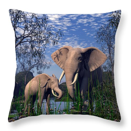 Elepant Throw Pillow featuring the digital art Baby Elepant An Mother At A Pond by John Junek