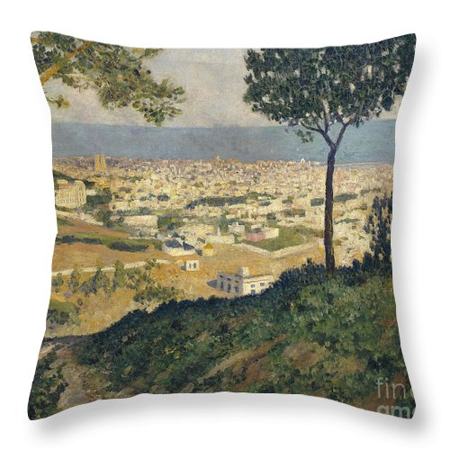 Dar�o De Regoyos Throw Pillow featuring the painting Barcelona Seen From Vallvidrera by Celestial Images