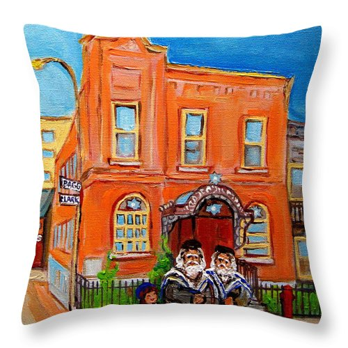 Beautiful Synagogue On Bagg Street Throw Pillow featuring the painting Beautiful Synagogue On Bagg Street by Carole Spandau