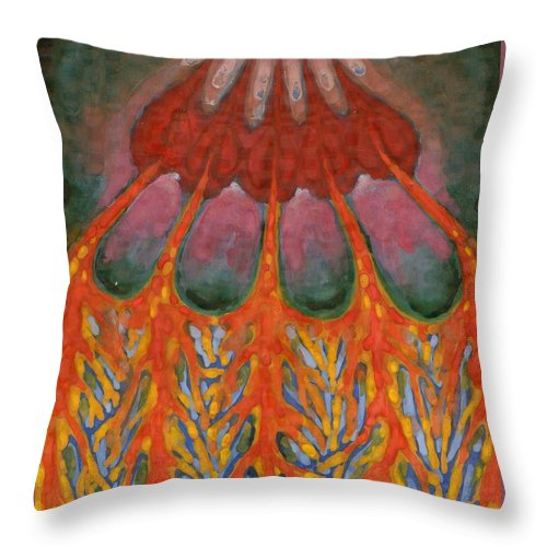 Colour Throw Pillow featuring the painting Becoming Rooted by Wojtek Kowalski