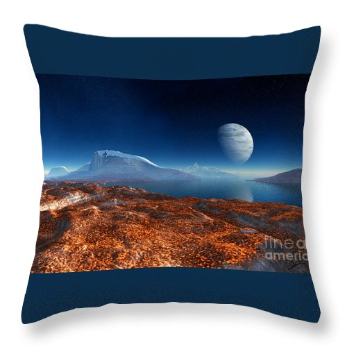 Blue Moon Over Patagonia Throw Pillow featuring the digital art Blue Moon Over Patagonia by Heinz G Mielke
