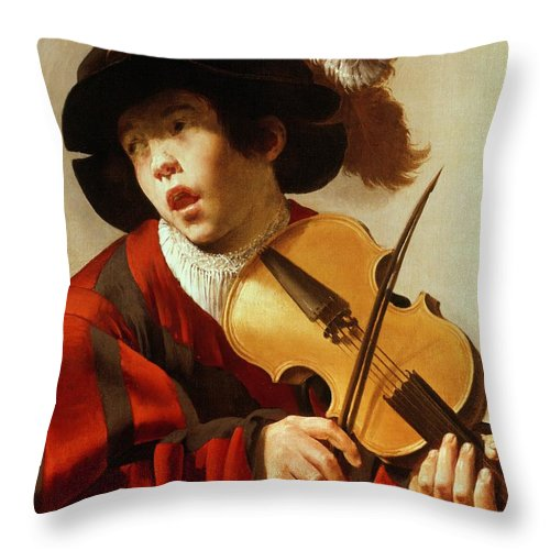 Boy Throw Pillow featuring the painting Boy Playing Stringed Instrument And Singing by Hendrick Ter Brugghen