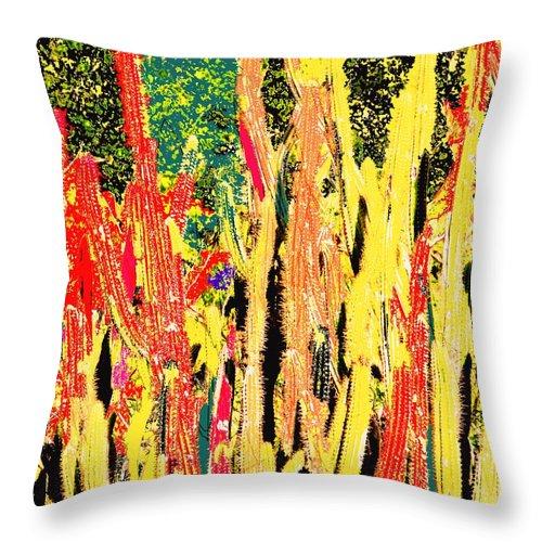 Cactus Throw Pillow featuring the digital art Bridgestone Cacti by Ian MacDonald