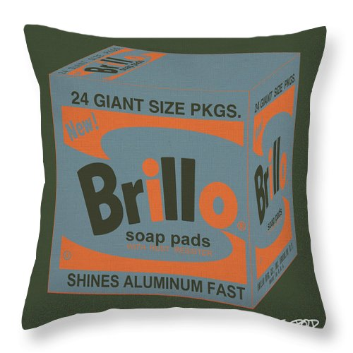 Throw Pillow featuring the digital art Brillo Box Colored 16 - Warhol Inspired by Peter Potamus