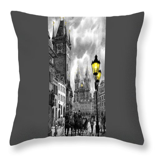 Geelee.watercolour Paper Throw Pillow featuring the painting Bw Prague Old Town Squere by Yuriy Shevchuk