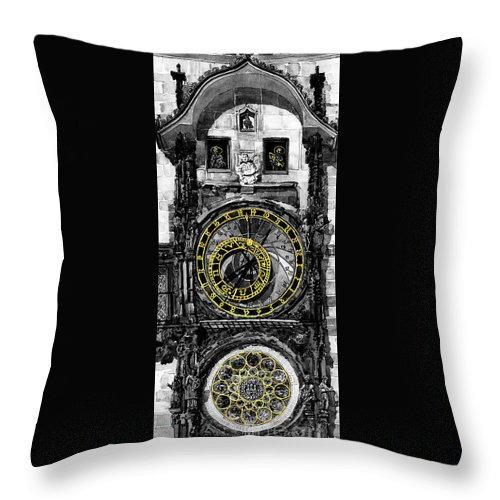 Geelee.watercolour Paper Throw Pillow featuring the painting Bw Prague The Horologue At Oldtownhall by Yuriy Shevchuk