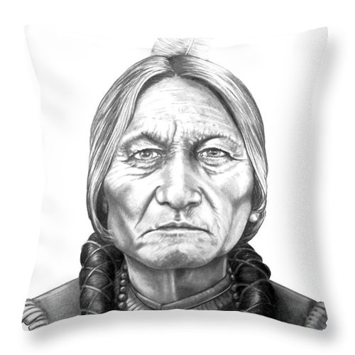 Portrait Throw Pillow featuring the drawing Chief Sitting Bull by Murphy Elliott