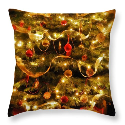 Victorian Christmas Tree Xmas Baubles Gifts Presents Decorations Ribbon Pine Needles Fairy Lights Throw Pillow featuring the photograph Christmas Tree by Mal Bray
