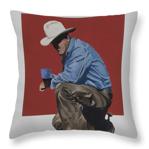 Cowboy Drinking Coffee Throw Pillow featuring the painting Coffee Time by Marston A Jaquis