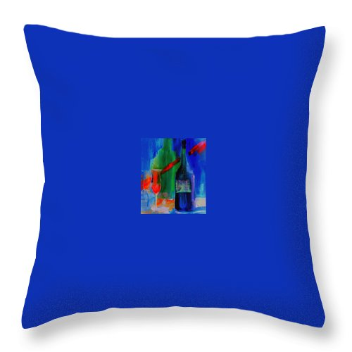 Electric Throw Pillow featuring the painting Electric Terra Cotta Blues by Lisa Kaiser