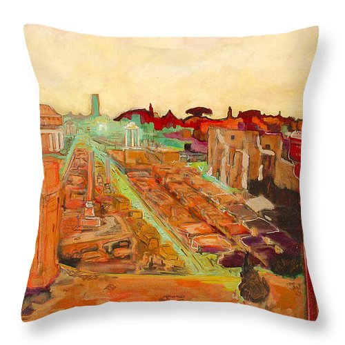 Rome Throw Pillow featuring the painting Foro Romano by Kurt Hausmann