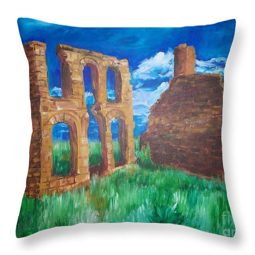 Western_landscapes Throw Pillow featuring the painting Ghost Town by Eric Schiabor