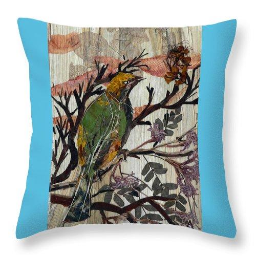 Green Bird Throw Pillow featuring the mixed media Green-yellow Bird by Basant Soni