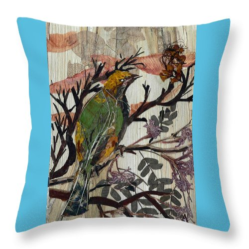 Green Bird Throw Pillow featuring the mixed media Green-yellow Bird by Basant Soni