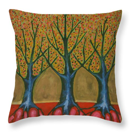 Colour Throw Pillow featuring the painting I Be Please With Life by Wojtek Kowalski