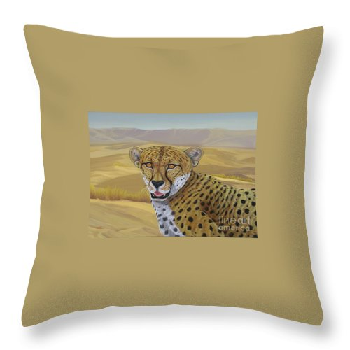 Cheetah Throw Pillow featuring the painting In Alert by Juan Enrique Marquez