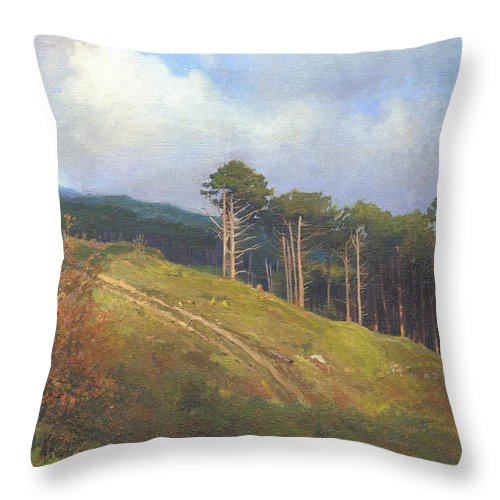 Throw Pillow featuring the painting In The Crimean Mountains  by Denis Chernov
