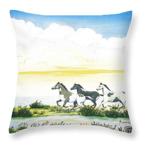 Chincoteague Throw Pillow featuring the painting Indian Ponies by Jerome Stumphauzer