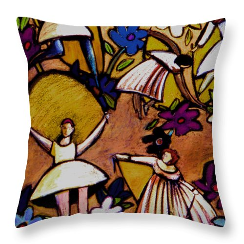 Figurative Throw Pillow featuring the painting Jumping Rope by Angelina Marino