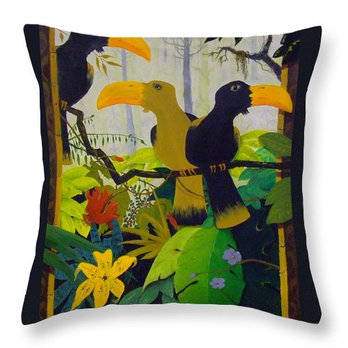 Jungle Throw Pillow featuring the painting Jungle Boogie by Patrick Trotter