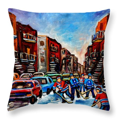 Montreal Throw Pillow featuring the painting Late Afternoon Street Hockey by Carole Spandau