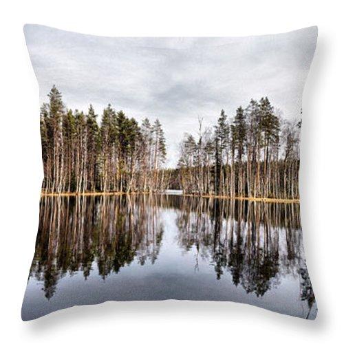 Lehtokukka Throw Pillow featuring the photograph Liesilampi Panorama by Jouko Lehto