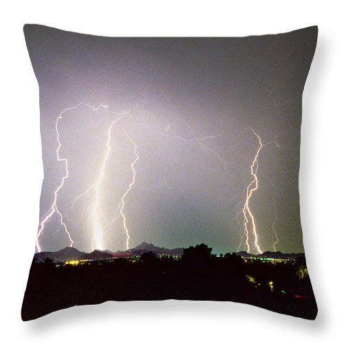 Arizona Throw Pillow featuring the photograph Lightning Thunderstorm View From Oaxaca Restaurant  by James BO Insogna
