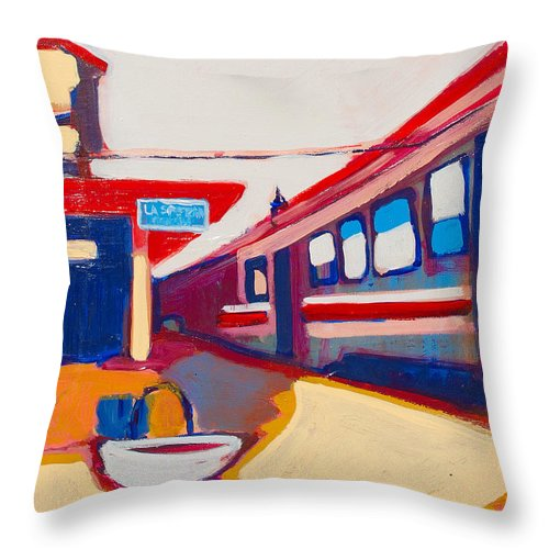 Train Station Throw Pillow featuring the painting Locale by Kurt Hausmann
