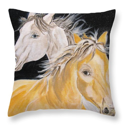 Horses Throw Pillow featuring the painting Love Story Part 2 by Donna Steward