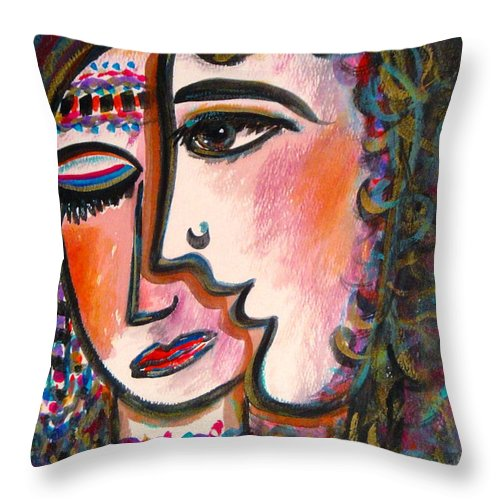 Lovers Throw Pillow featuring the painting Lovers by Natalie Holland