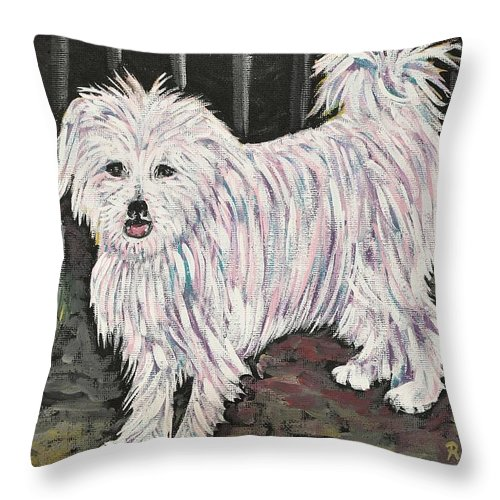 Dogs Throw Pillow featuring the painting Maltese Terrier Mix In Living Color by Reb Frost