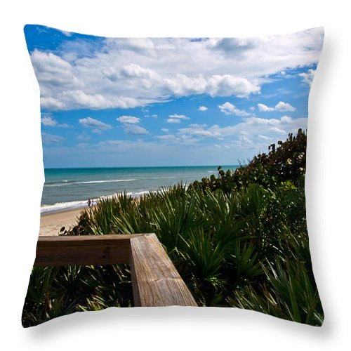 Beach; February; Florida; Warm; Warmth; Temperature; Degrees; Weather; Sun; Melbourne; Sand; Shore; Throw Pillow featuring the photograph Melbourne Beach On The East Coast Of Florida by Allan Hughes