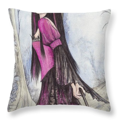 Witch Throw Pillow featuring the painting Mis Witch by Morgan Fitzsimons
