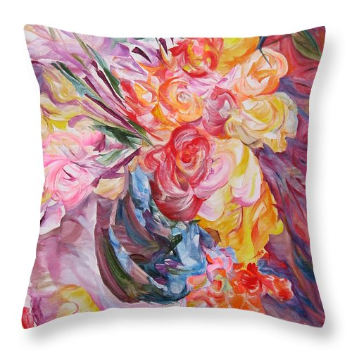 Abstract Throw Pillow featuring the painting My Bouquet by Maya Bukhina