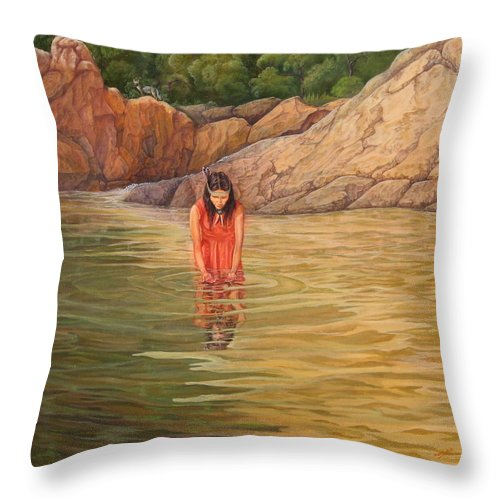 Native Woman Throw Pillow featuring the painting Nawaja  Inat The Legend Of The Water by Juan Enrique Marquez